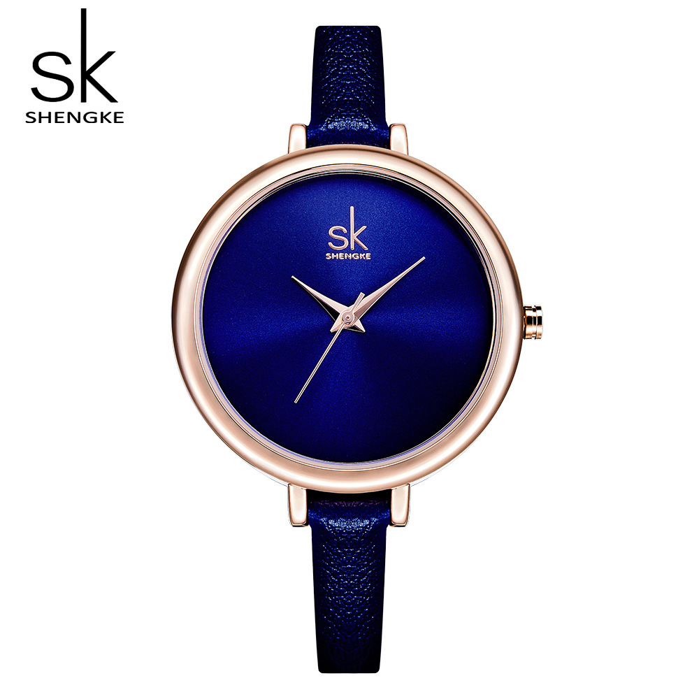 Shengke Watches Women Brand Fashion Blue Watch Slim Leather Wristwatch Quartz Watches Ladies Clock Relojes Mujer 2018 SK #K0069 ladies watches fashion red simple design black water resistant life quartz watch dress leather clock women casual relojes mujer