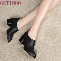 Spring And Autumn Women S Shoes Thick High Heels Fashion Women Genuine Leather Shoes Pointed Toe