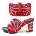 Populares Zapatos Con Bolso A Juego set de buena calidad Italia estilo Italiano zapatos de tacón alto con cristal para la señora! GTH16-59