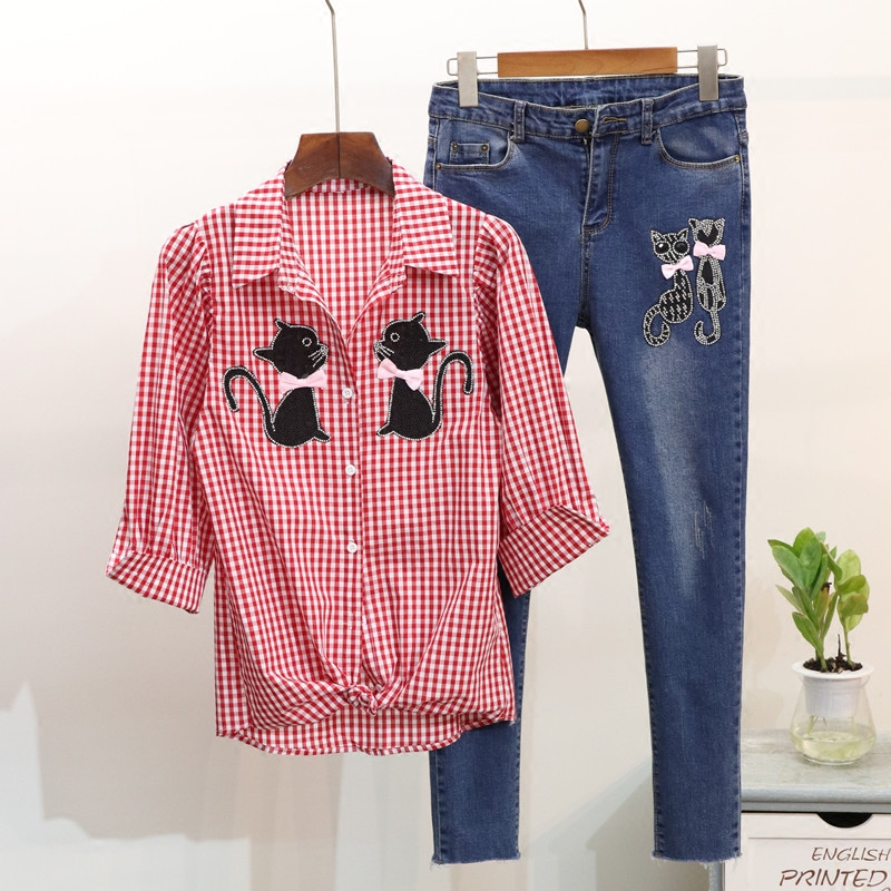 2018 Spring Womens Clothing Sets Diamond-studded Cat Plaid Shirt + Skinny Denim Trousers Suit Office Lady Jeans Suit Two Piece