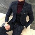 3 Unidades Se Adapte A Los Hombres Británicos Últimas Bragas de la Capa Diseños Azul Real Traje para hombre Otoño Invierno Gruesa Slim Fit Plaid Vestido de Novia Esmoquin