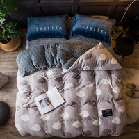 Leaves Print Bedding Sets 4Pcs Queen King Size Flannel Bedlinens Duvet Cover Flat Sheet Pillow Cases