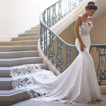 a37d7159a4a9597 Свадебное платье русалки с рукавами 2019 Vestidos de novia винтажное  кружевное Милое Свадебное платье с вырезом Свадебные платья без спинки по  индив.