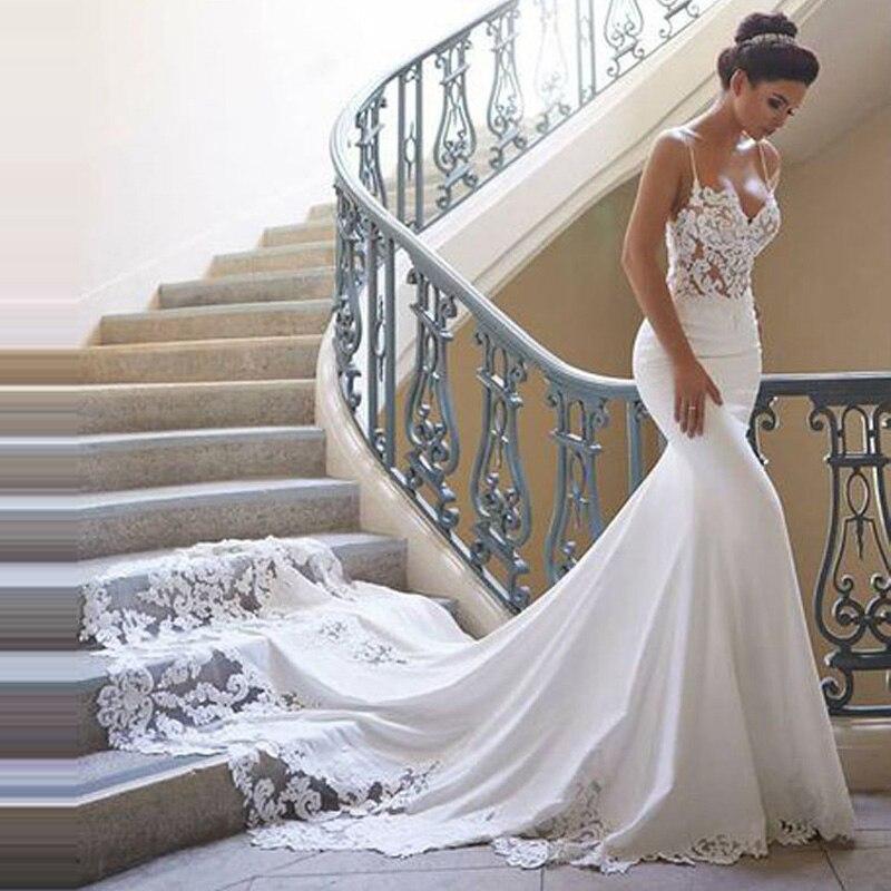 Charmante robe de mariée sirène 2019 bretelles Spaghetti Vestido de novia Vintage dentelle robe de mariée dos nu robe de mariée personnalisée