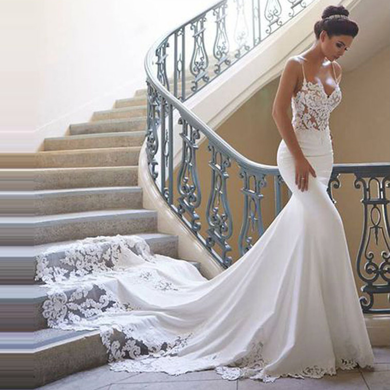 Charming Mermaid Wedding Dress 2020 Spaghetti Straps Vestido De Novia Vintage Lace Bridal Gown Backless Bride Dress Customized