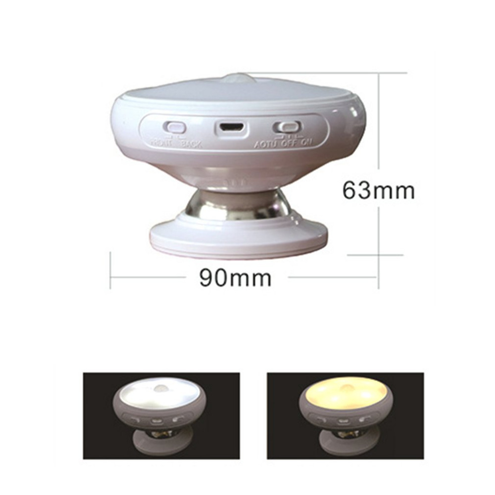 360 Degrees Rotation Night Lamp Battery Powered Human Motion Sensor + Light Control Night Light Emergency Lamp