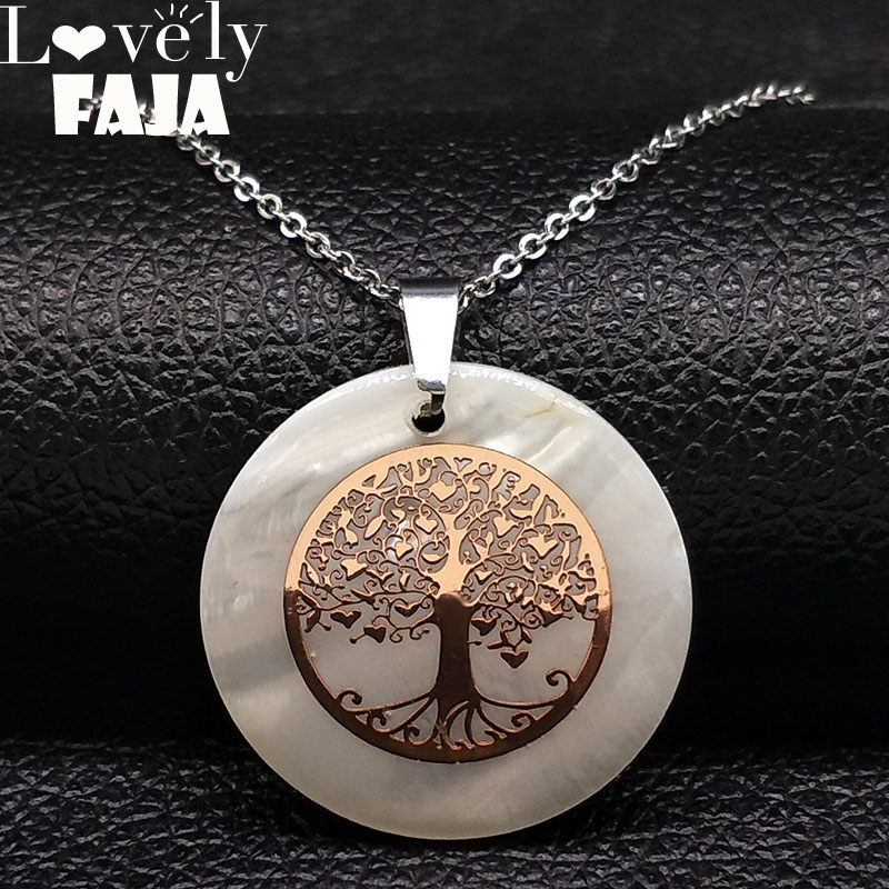 2018 Fashion Tree of Life Shell Stainless Steel Necklace Women Rose Gold Color Chain Necklace Jewelry collier ethnique N18402 in Pendant Necklaces from Jewelry Accessories