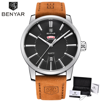BENYAR Business Watches for Men Brown Top Brand Luxury Military Leather Wristwatches Man Date&week Display Clock Fashion Watch 2