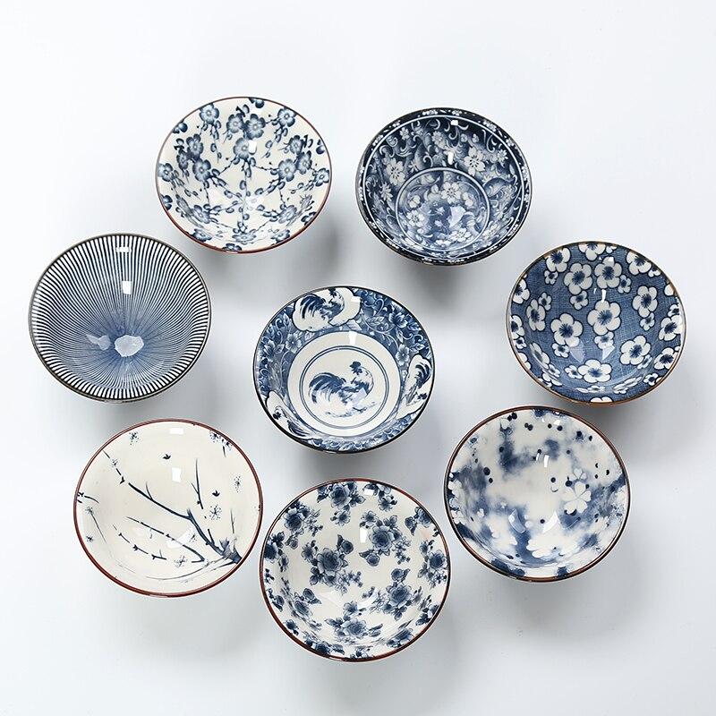 6PCS/Set Chinese Ceramic Blue And White Porcelain Kung Fu Tea Set Drinkware Retro Tea Cup Gaiwan Creative Gifts Randomly Styles