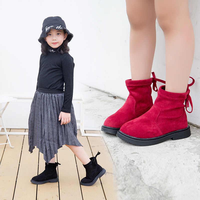 Дети девочки осень-зима школа плюс бархат красные, черные теплые валенки  для девочек ботильоны fd8c9f757aa