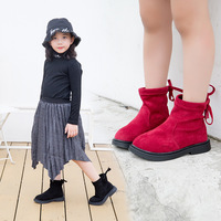 Kids Girls Autumn Winter School Plus Velvet Red Black Warm SnowBoots For Girls Ankle Matin Snow Boots 4 6 8 10 11 12 Years New