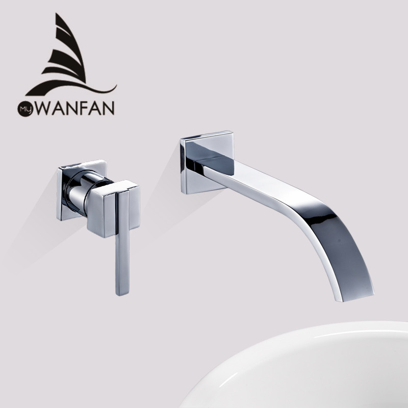 Basin Faucets Wall Mounted Brass Bathroom Sink Basin Mixer Tap Faucet Chrome Faucet Single Handle Sink Mixer Taps WF-855001 цена