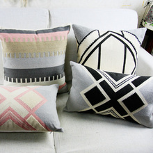 Vintage Pink Grey Cushion Cover Aztec Geometric Embroidery Pillow Case with For Sofa Bed Simple Home Decor 45x45cm/30x50cm