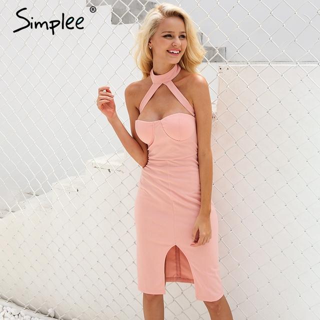 Simplee Sexy halter pink summer dress women Bodycon evening party dress Girls elegant club high waist vestidos