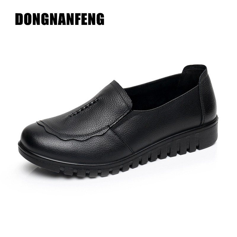 DONGNANFENG Women Female Old Mother Flats Shoes Loafers Slip On Round Toe Black Cow Genuine Leather Casual Non Slip 35-41 HD-807 spring summer flock women flats shoes female round toe casual shoes lady slip on loafers shoes plus size 40 41 42 43 gh8