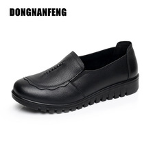 DONGNANFENG Mujer Mujer Old Mother Flats Zapatos Slip On Round Toe Vaca Negro Cuero Genuino Casual PU Tamaño Antideslizante 35-41 HD-807
