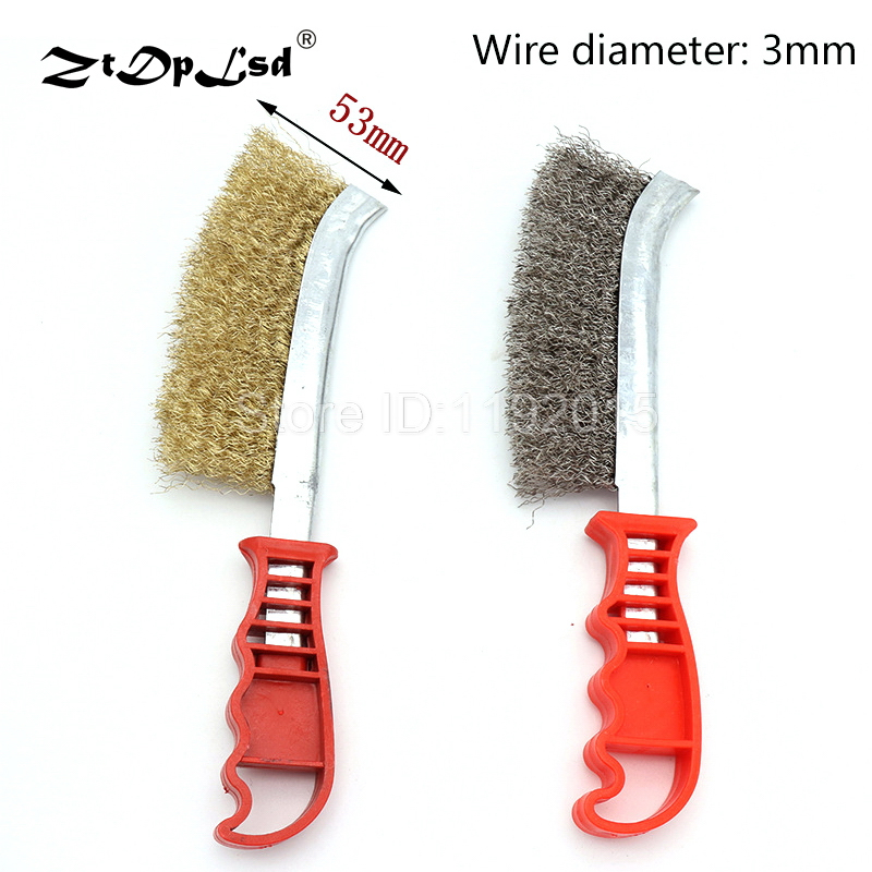 25cm Heavy Duty Multi Purpose Hand Wire Brush Rust Paint Metal Remover Craft Tool Bristle Cleaner Copper Plated For Clean Brake