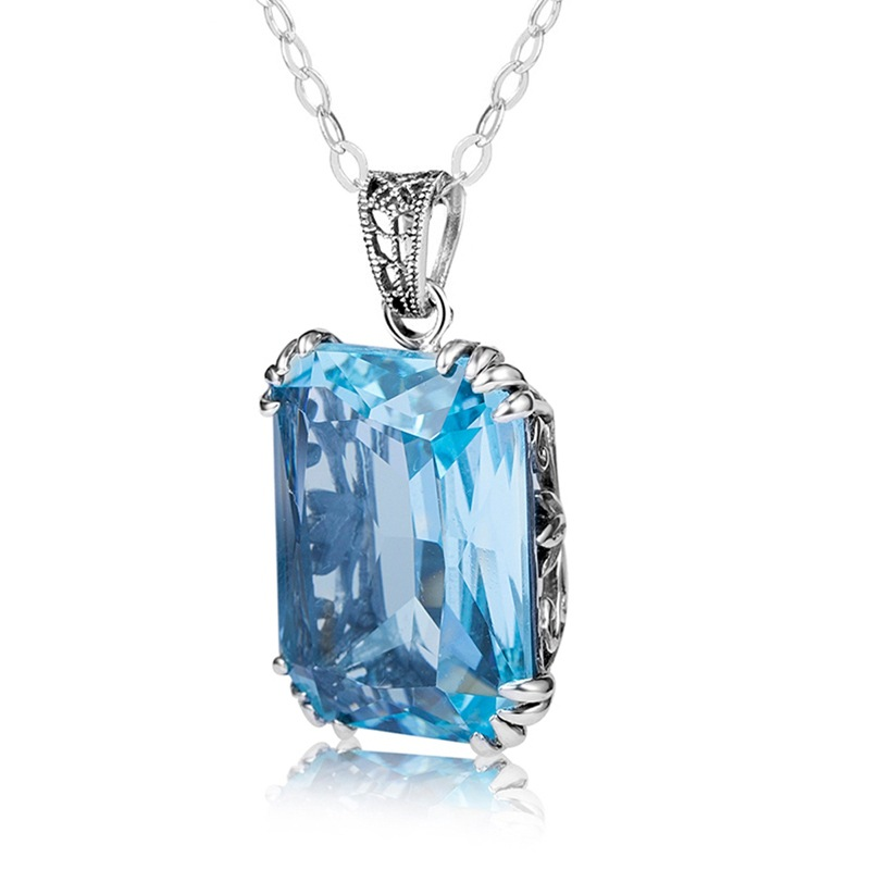 slivr 925 Necklace Turquoise Sapphire Gemstone pendant Jade Link Chain Emerald 925 Necklaces for Women pierscionki Bizuteria in Necklaces from Jewelry Accessories