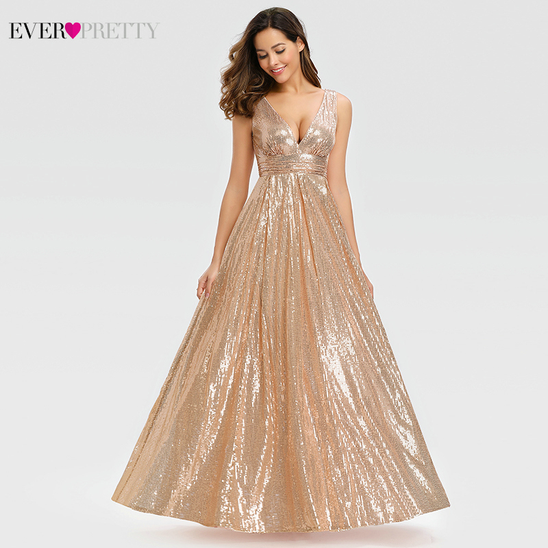 Sexy Rose Gold Prom Dresses Long Ever Pretty A-Line Double V-Neck Sequined Elegant Evening Party Gowns Gala Jurken Dames 2020