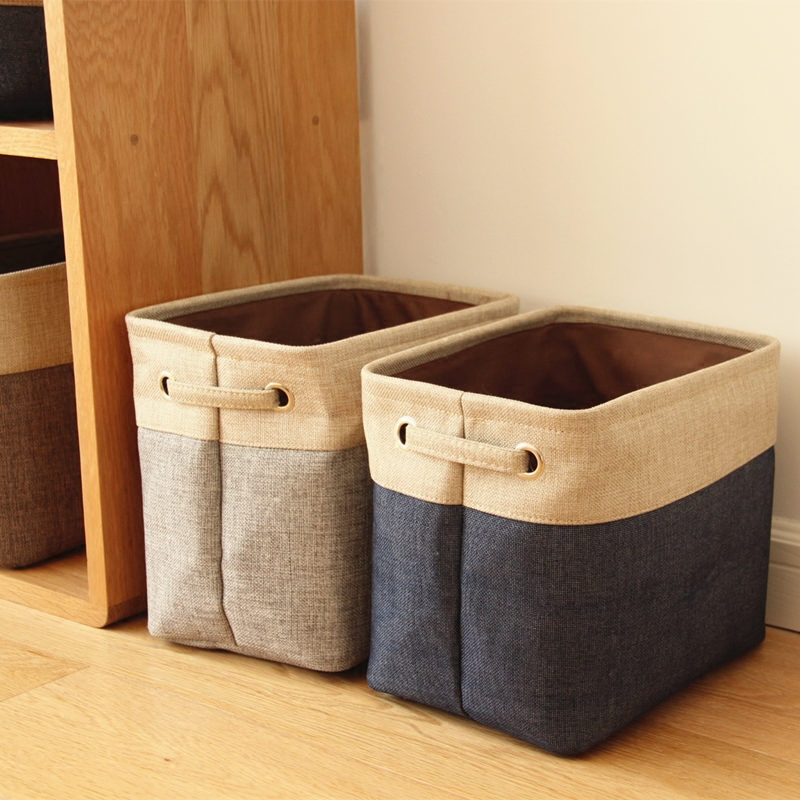 Foldable Linen Cotton Storage Basket Japanese Style Dirty Clothing Storage Laundry Basket Sundries Organizer Toy Home Storage Box