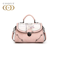 Coofit Elegant Women S Crossbody Shoulder Bag Fashion Butterfly Printing Buckle Flap Cover PU Leather Satchel