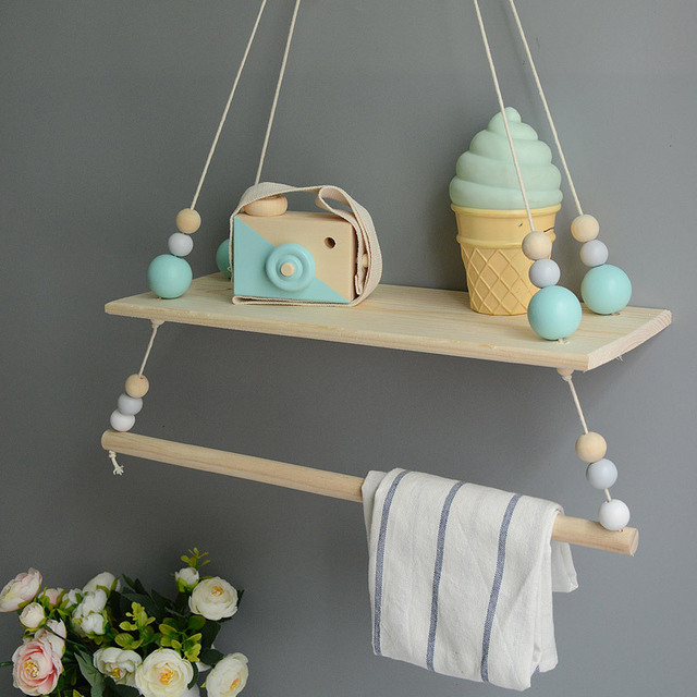 Handcrafted Shelf Double Sweetness Hanging Bead Nordic Style Nursery Decoration Bookshelf Kids Room Girls