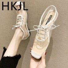 HKJL Single shoe women 2019 Korean version flat shoes spring British style transparent low heel square head casual A259