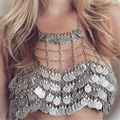Bohemian Style Vintage Retro Gold Silver Alloy Coin Shape Tassel Necklaces Summer Body Jewelry For Women Accessory