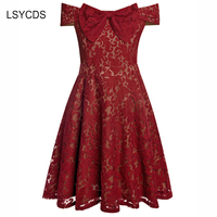 2018 Vintage Women Dress Summer Sleeveless Lace Dress Blue Green Red A Line Lace Dress Slash Neck Bow Party Prom Casual Vestidos