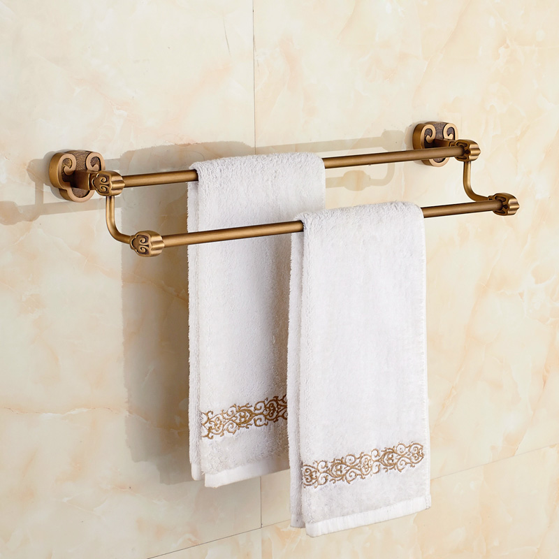 Three Rams Bring Bliss Bathroom hanging European towel rod all copper antique towel towel hanging double pole 6348