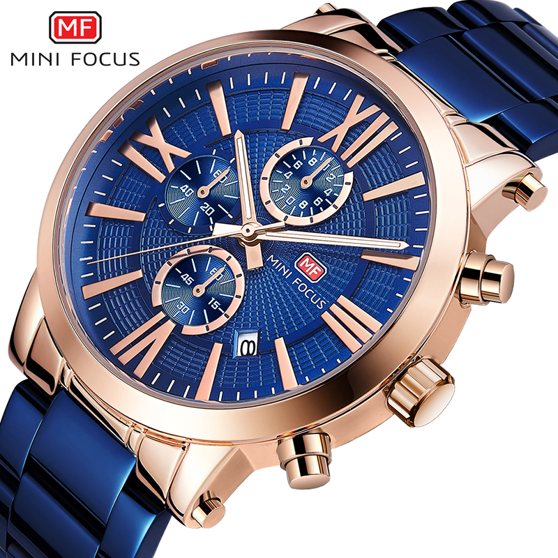 MINIFOCUS Luxury Full Steel Men Watches Male Waterproof Quartz Clock Chronograph Casual Sports Business Watch Relogio MasculinoMINIFOCUS Luxury Full Steel Men Watches Male Waterproof Quartz Clock Chronograph Casual Sports Business Watch Relogio Masculino