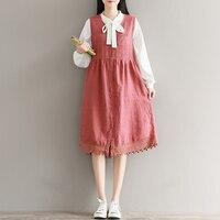 TriTrust 2018 Autumn New Pattern Japanese Women Cotton Sleeveless Dress Loose Long A All Match V