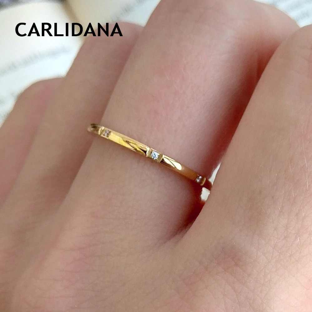 Hot Zirconia Rings For Women Stainless Steel Fashion Design Ring Women Minimalist Vintage Gold Color Rings CARLIDANA Jewelry
