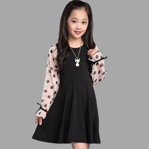 Patchwork Girl Dresses Polka Dot Dress For Kids Summer Dress For Girls Casual Children's Dress Spring Costume For Girl 4-14 Year(China)