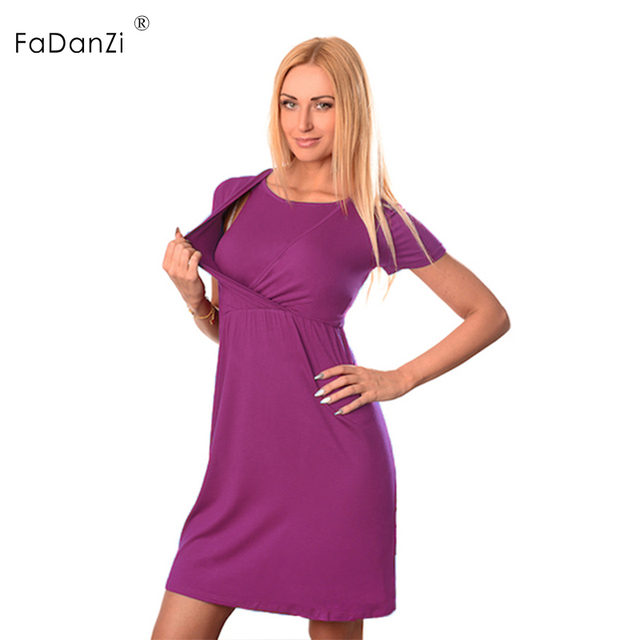 f705c02ce9d 2018 new maternity summer solid color round neck short-sleeved pregnant  women breastfeeding maternity dress lactation clothes