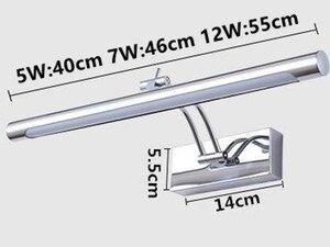 Image 5 - Lampa LED nad lustro wodoodporna 5W/40CM 7W/46CM 12W/55CM AC90 260V nowoczesne kosmetyczne akrylowa lampa ścienna oświetlenie łazienki regulowany