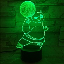 Boy Led Night Lamp Kung Fu Panda Basketball Nightlight for Children Bedroom Battery Powered Light Kids Birthday Gift