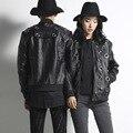 Полые мужские кожаные куртки новая мода trend прохладный мужской панк стиль локомотив куртка мужчины женщины кожаное пальто stage clothing SP19