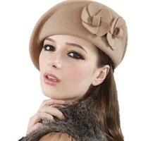Female England British Australian Wool Felt Beret Hat Women Lady French Artist Red Black Khaki Flat