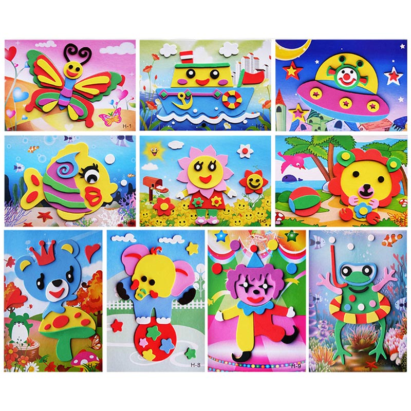 10 Designs/lot DIY Cartoon 3D EVA Foam Sticker Puzzle Series Kids Multi-patterns Styles Toys For Children Birthday Gift