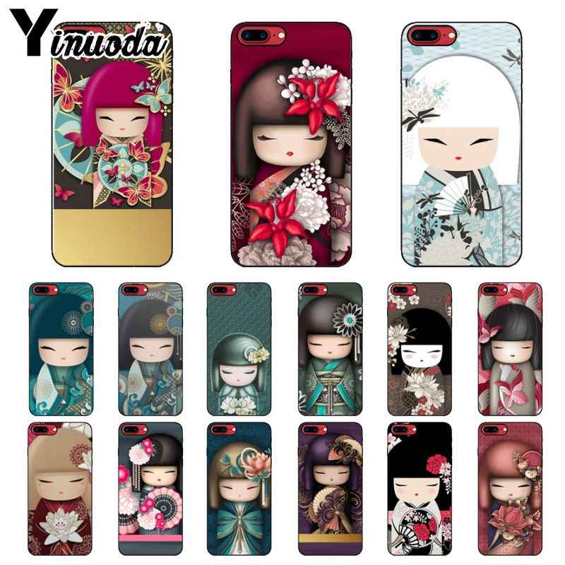Yinuoda Moda kawaii Japonês Kokeshi Phone Case para iPhone 5 8 7 6 6 S Plus 5S SE XR X XS MAX Coque Shell