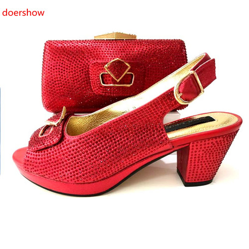 doershow New Arrival African Wedding Shoes and Bag Set red Color Italian Shoes with Matching Bags Nigerian Women party!MS1-7 цены