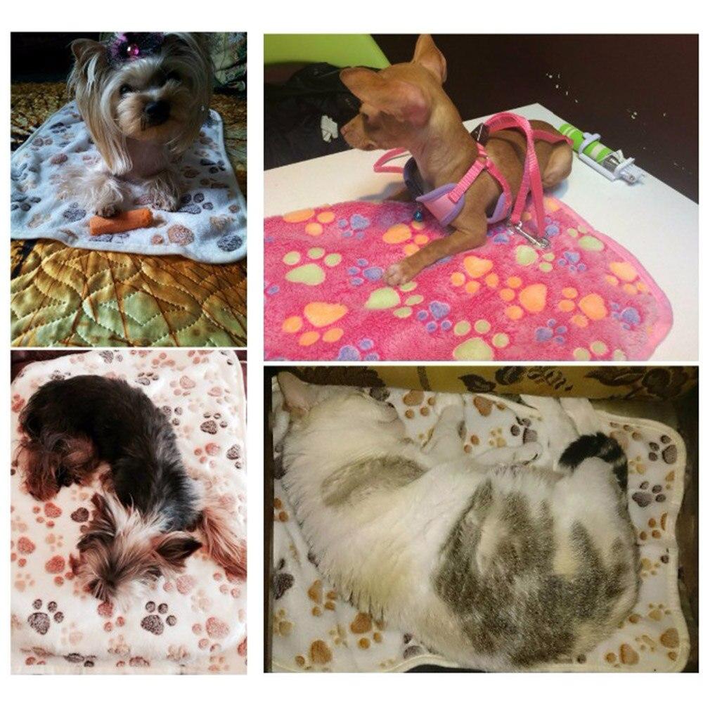 Comfortable Pet Bed Mats Sleep Flora Paw Print Dog Cat Puppy Fleece Soft Blanket Pet Dog Beds Mat For Pet Cat Small Dog Supplies (6)