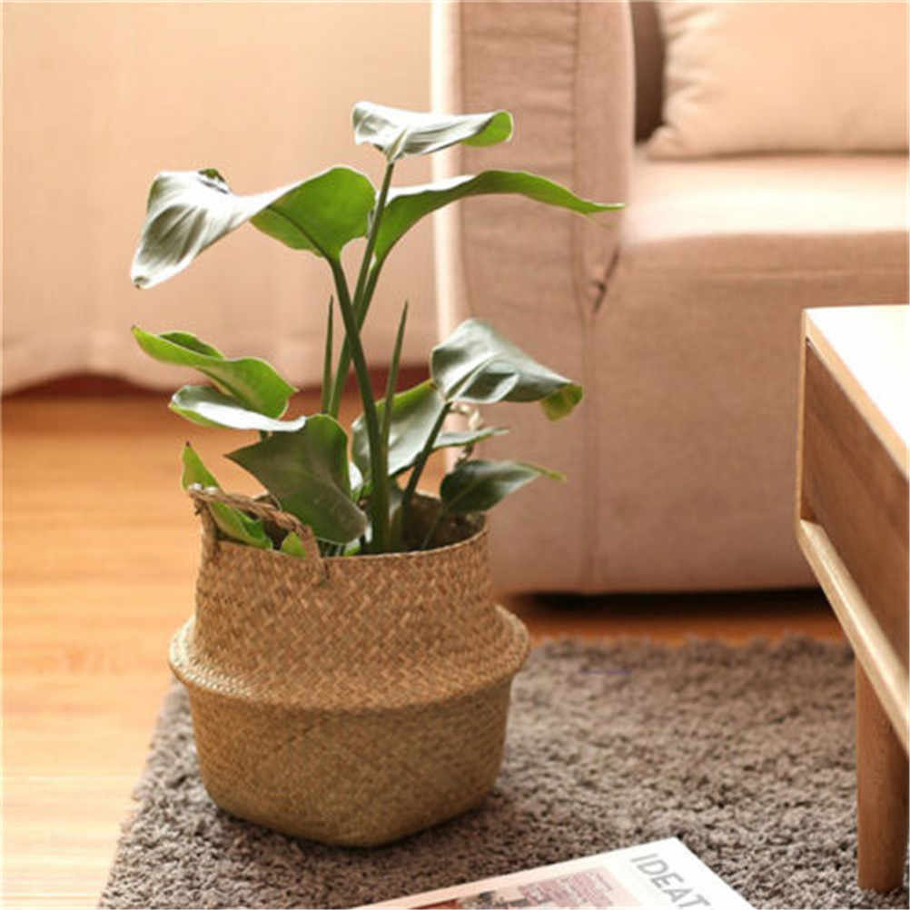 12x16x15cm Storage Basket Rattan Straw Basket Wicker Seagrasss Folding Laundry Flower Pot Flower Vase  Home Hanging Basket