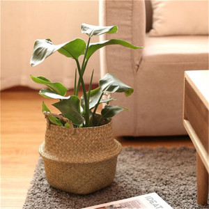 12x16x15cm Storage Basket Rattan Straw Basket Wicker Seagrasss Folding Laundry Flower Pot Flower Vase Home Hanging Basket(China)