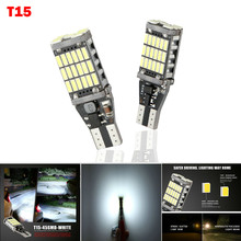 2 lámparas LED de luz de matrícula para coches T15 W16W 45 SMD 4014 sin errores bombillas LED de luz trasera 15 W 6000K blanco
