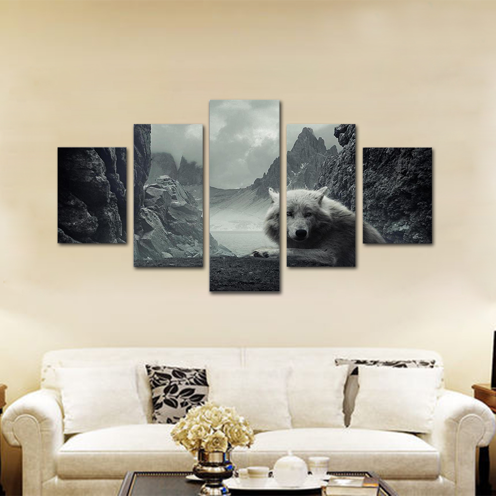Unframed HD Print 5 Canvas Art Painting Gray Wolf Living Room Decoration Animal Spray Painting Mural Unframed Free shippin