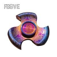FEGVE MaYa Titanium Alloy Grilled Blue Fidget Spinner Hand Spinner Finger Tri Spinner Metal EDC Stress