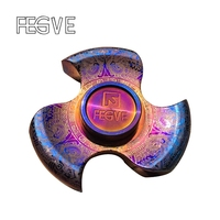 FEGVE MaYa Titanium Alloy Grilled Blue Fidget Spinner Hand Spinner Finger Spinner Metal EDC Stress Handspinner