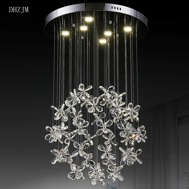Led Butterfly Crystal Chandelier Flower Petals Art Crystal Lamp - Crystal chandelier in dining room